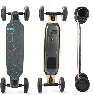 YWS New Off-Road Electric Skateboard 98mm Longboard Deck Strong Elasticity,Impact Resistance 8-inch Solid tire Includes Wireless Remote Control with LCD Screen