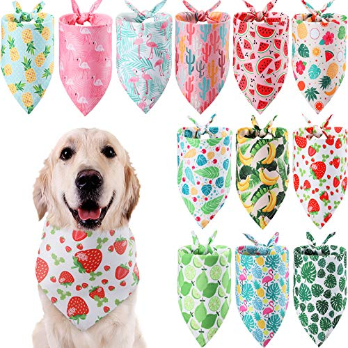 12 Pieces Dog Bandana Scarf Washable Triangular Bibs Pet Adjustable Washable Kerchief Dog Bandana for Small and Large Dogs (Fruit and Leaves Patterns)