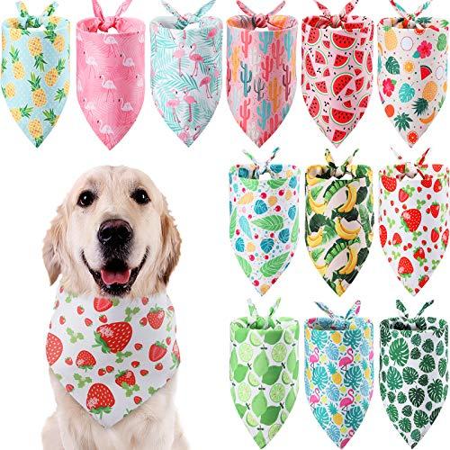 Weewooday 12 Bandanas de Perros Baberos Triangulares Lavables Pañuelo Ajustable con Estampado de Flamenco Fruta de Verano de Mascotas Bandana de Perros de Hawaii (Patrones de Frutas y Hojas)
