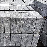 AUPROTEC Granit Bordstein Naturstein massiv 10 x 25 x 100 cm Leistenstein grau DIN EN 1343