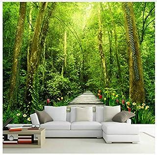 decomonkey Fototapete selbstklebend Wald 3D 245x175 cm XL Selbstklebende Tapeten Wand Fototapeten Tapete Wandtapete klebend Klebefolie Natur Landschaft Baum