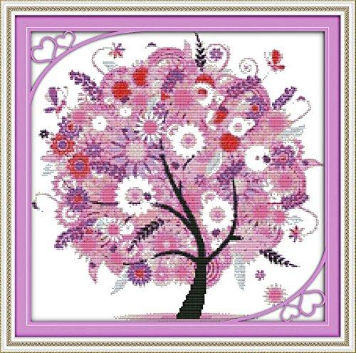 benway Kit point de croix compté Motif La Happy Tree 14 fils Rose 44 x 43 cm