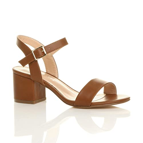 a3eb7858fc84d1 Womens Ladies mid Low Block Heel peep Toe Ankle Strap Strappy Party Sandals  Size