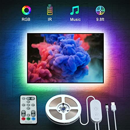 Govee LED TV Backlight, Music Sync USB Powered LED Strip Lighting Kit with Remote for 46-60 Inch TV Television PC Monitor(2 x 50cm + 2 x 100cm)