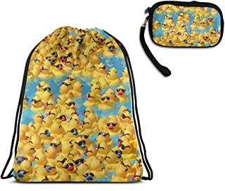 Cute Rubber Yellow Ducks With Sunglasses Drawstring Bag Gym Hiking Rucksack, Water Resistant Cinch Sackpack Large Backpack With Smartphone Wristlets Purses Cash Holder Change Pouch