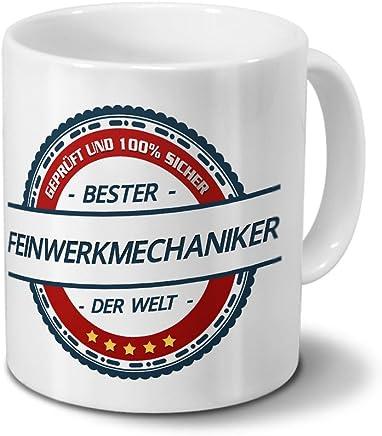 Preisvergleich für Tasse mit Beruf Feinwerkmechaniker - Motiv Berufe - Kaffeebecher, Mug, Becher, Kaffeetasse - Farbe Weiß
