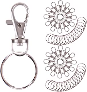 WXJ13 Swivel Clasps Lanyard Snap Hook Lobster Claw Clasp and Keychain Rings, 55 Pieces