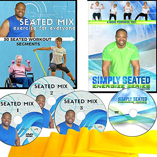 Easy to Follow Chair Exercise for Seniors- 4 DVDs + 30 Seated Senior Exercise Segments + Resistance Band. with 100s of Workout Combinations, This is The Last Senior Fitness DVD You Will Need to Buy!