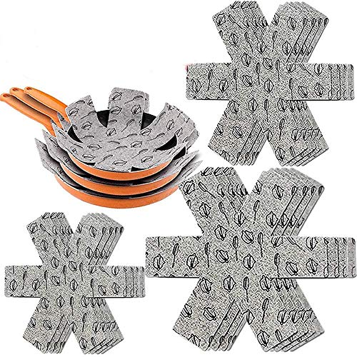 XUTONG Anti-Scratch Pan Pot Protectors 12 PCS Felt Padded Print Premium Divider Pads Separate and Protect Surfaces of Your Cookware to Prevent Scratching