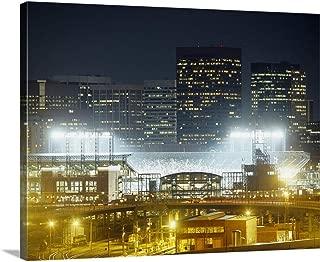 Coors Field lit up at Night, Denver, Colorado Canvas Wall Art Print, 20
