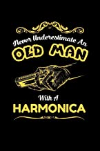 "never underestimate an old man with a harmonica: Dot Grid Notebook (6""x 9"" inch size = nearly DIN A5 - 120 Pages) - perfect as music book or song writing book, suitable gift for Harmonica musicians!"