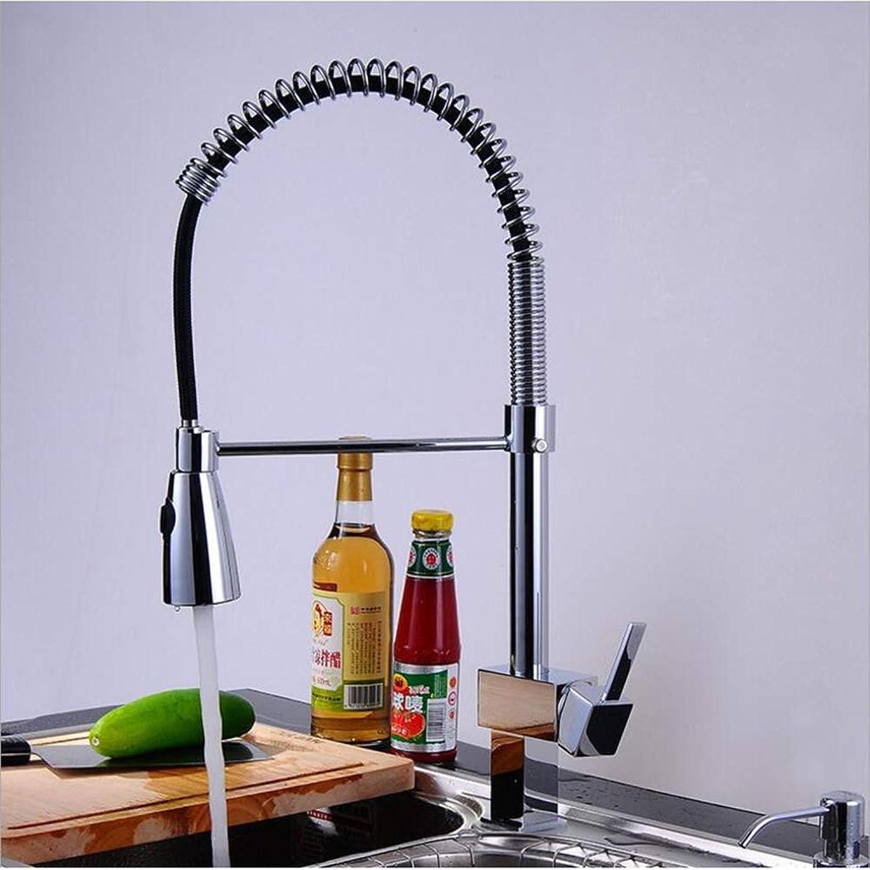 IFELGUD Quadrat Frühling Stil Chrom Finishe Küche Ziehen Wasserhahn Heie Und Kalte Mischbatterie Auslauf DrehbareWasserhahn Waschbecken Wasserhahn