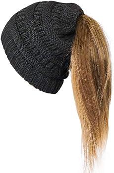 Pukavt BeanieTail Hat Warm Knit Stretchy Beanie Hole Cap