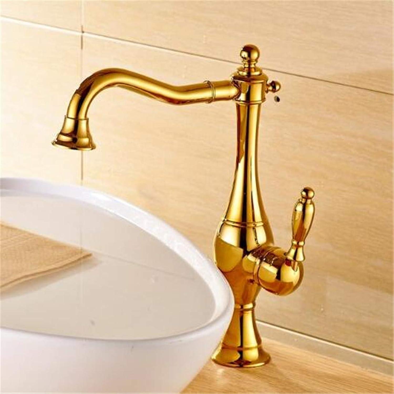 Oudan Taps Kitchen Faucet Bathroom Tapsluxury gold Finish Basin Faucet Bathroom Vanity Sink Tap Single Lever Swivel Spout (color   -, Size   -)