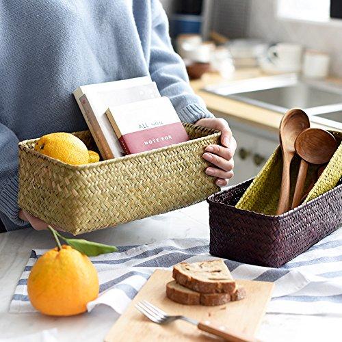 Set of 2 Kitchen Seagrass Storage Basket Original Eco-manual Woven Seaweed Basket Bedroom Debris Sorting Storage Basket