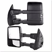 VIOJI 2x Power Heated Manual Telescoping Folding Side Smoke Turn Signal Light+LED Arrow Turn Signal Light Black Housing Convex Spotter Glasses Towing Mirrors for 99-07 Ford F250-F550 Super Duty