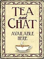 (グラインドストア) Grindstore オフィシャル商品 Tea and Chat おしゃべりと紅茶 ミニ ブリキ看板 壁掛け (wan) (ベージュ)
