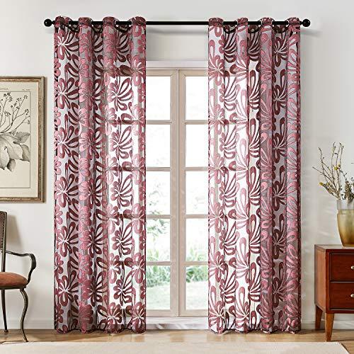 Topfinel Gardinen Ausbrenner mit Ösen und Blumen-Mustern Voile Vorhänge für Wohnzimmer 1 Stück 250x300cm (HxB) Rot