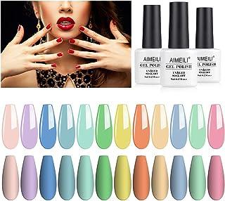 AIMEILI Soak Off UV LED Gel Nail Polish Multicolour/Mix Colour/Combo Colour Set Of 12pcs X 8ml - Kit Set 9