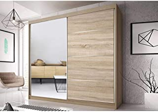 E-MEUBLES Armoire de Chambre avec 2 Portes coulissantes et miror   Penderie (Tringle) avec étagères (LxHxP): 183x218x61 Be...