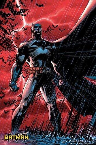 wb shield Batman - O Cavaleiro das Trevas - Chuva Vermelha 91,44 cm x 60,96 cm Pôster impresso em quadrinhos DC Comics Red Storm