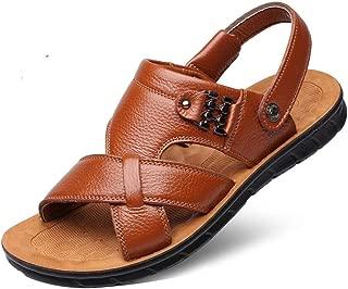 Xiang Ye Outdoor Sandals for Men Summer Walking Fisherman Slipper Beach Shoes Open Toe Stitch Metal Decor Anti-Slip Genuine Leather (Color : Khaki, Size : 7.5 UK)