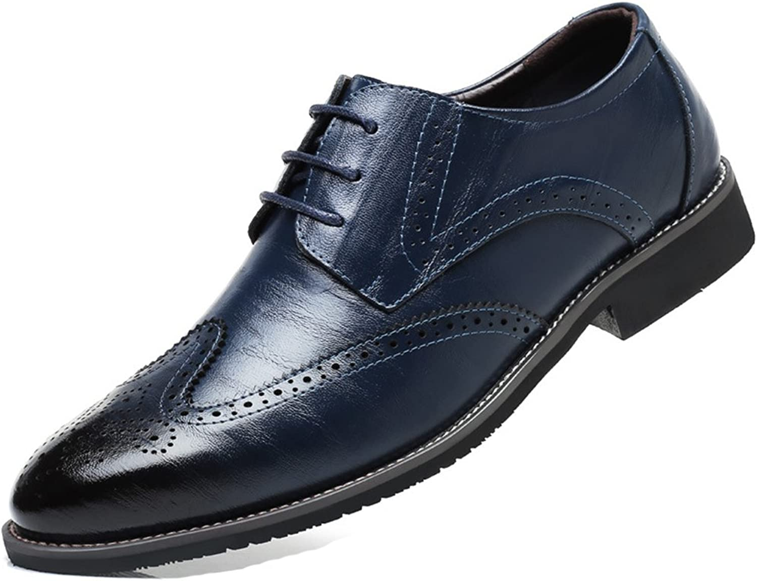 Giles Jones Mens Oxford shoes - Chukka Heel Lace Up Breathable Wing Tip Brogue Dress shoes bluee