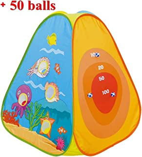 PLAY 10 Kids Pop up Ball Pit Tent with Ball Shooting and Sticky Balls Design,Including 50 Pit Balls and 3 Sticky Balls