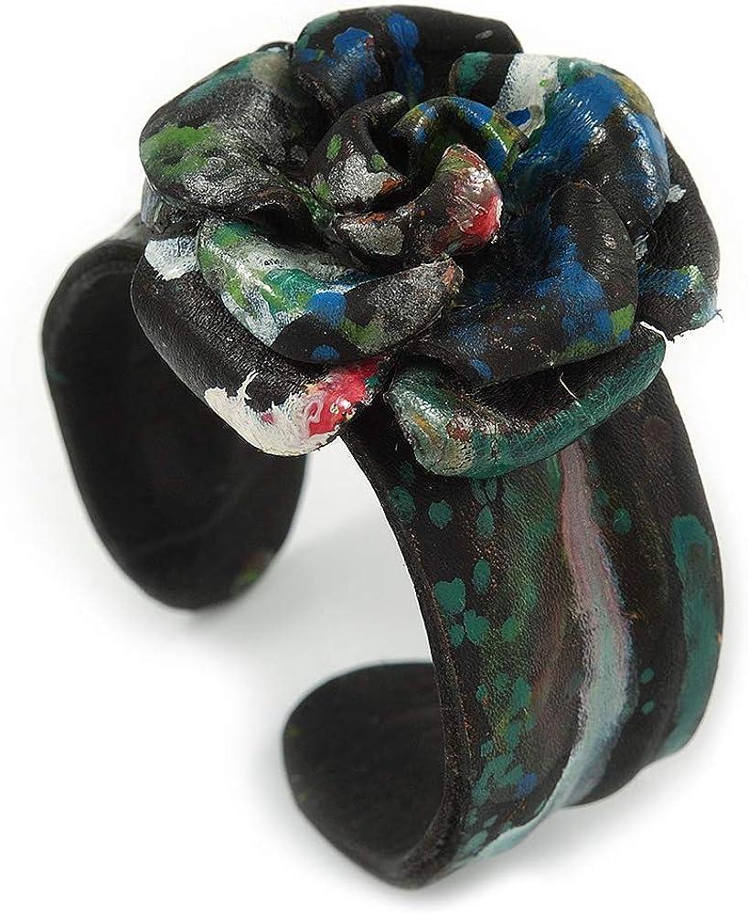 Avalaya Romantic Black Flower Leather Cuff Bracelet - Adjustable