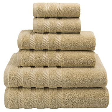 Premium, Luxury Hotel & Spa Quality, 6 Piece Kitchen and Bathroom Turkish Towel Set, Cotton for Maximum Softness and Absorbency by American Soft Linen, Sand Taupe