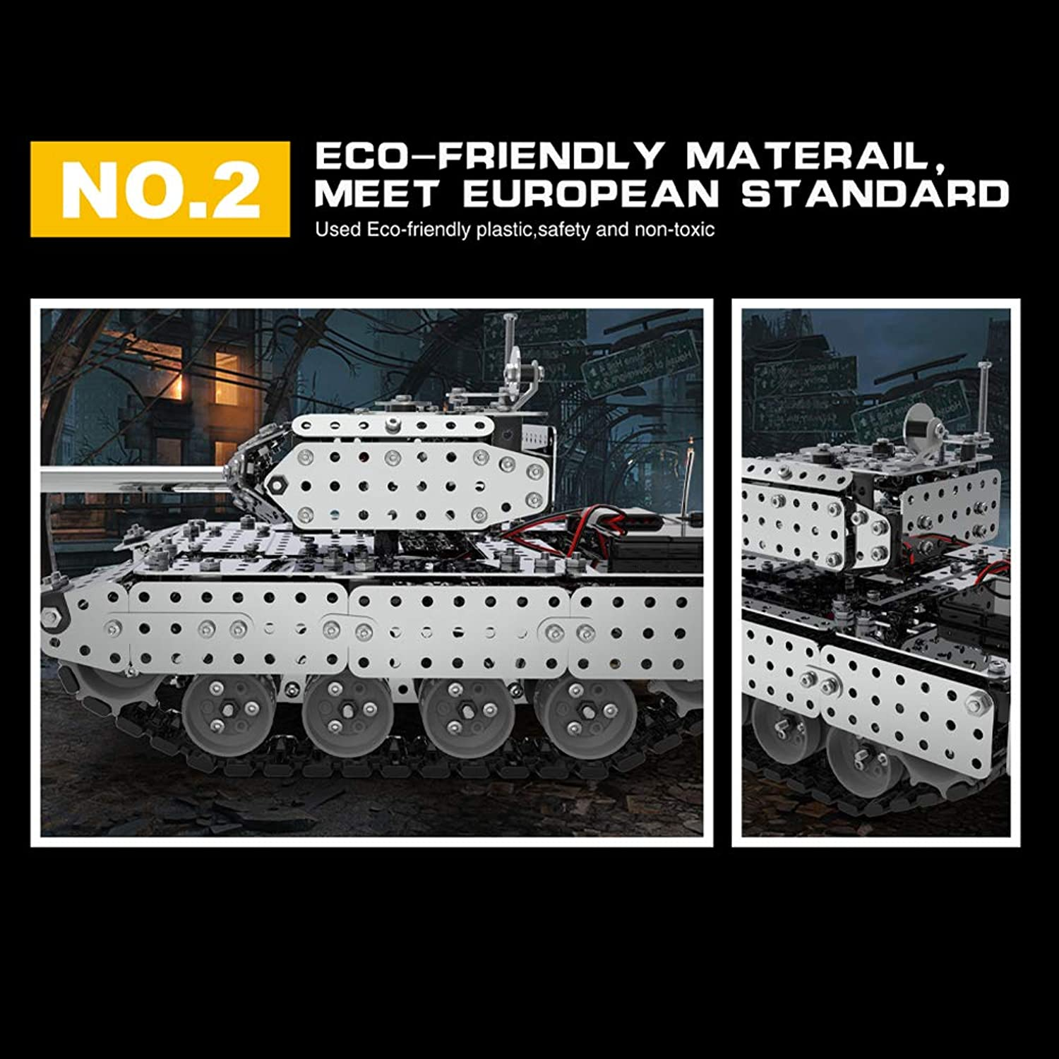 GoolRC RC Battle Tank Car Building Blocks Educational Toys Stainless Steel Remote Control RC Toy Gift for Kids Boys 952pcs