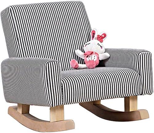 GX&XD Rocking Kindercouch,Stripe Kreativ Hoch zurück Kindersessel Gemütlich Baumwolle Kindersofa Stabile holzkonstruktion Kinderm l-A
