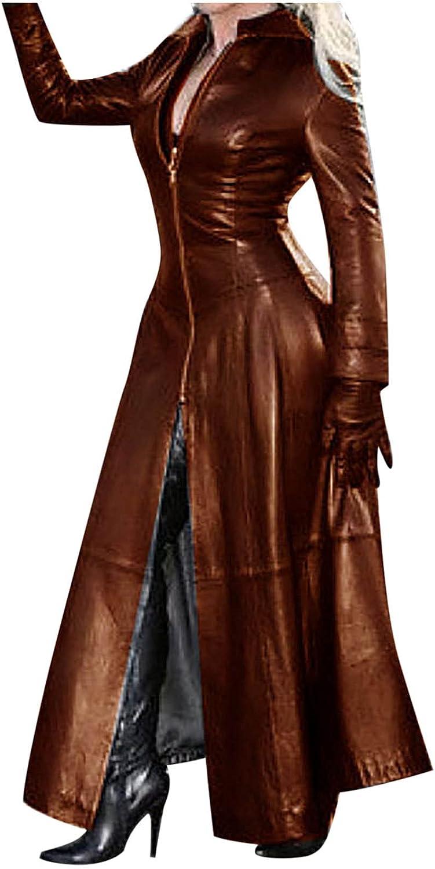 Aritone Clearance!! Coat Jacket Women's Sexy Autumn and Winter Solid Long Leather Coat Imitation Leather Windbreaker Coat