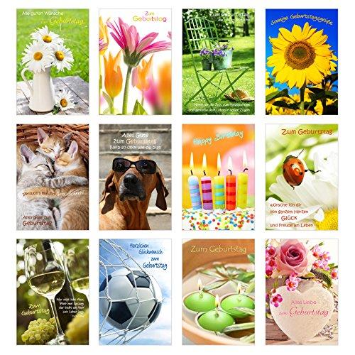 Edition Seidel Set 12 Geburtstagskarten Glückwunschkarten zum Geburtstag mit Umschlag. Grusskarte Geburtstagskarte Happy Birthday Mann Frau (Doppelkarten/Klappkarten mit Briefumschlag)