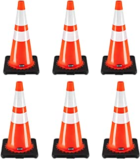 "[ 6 Pack ] 28"" Traffic Cones Plastic Road Cones Safety Road Parking Cones Weighted Hazard Base Cones Construction PVC Cone..."