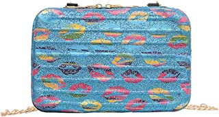 Mini Suitcase Lip Print Makeup Bag, Hamkaw Portable Hard Shell Cosmetic Case with Strap, Multifunction Organizer Bag for Travel