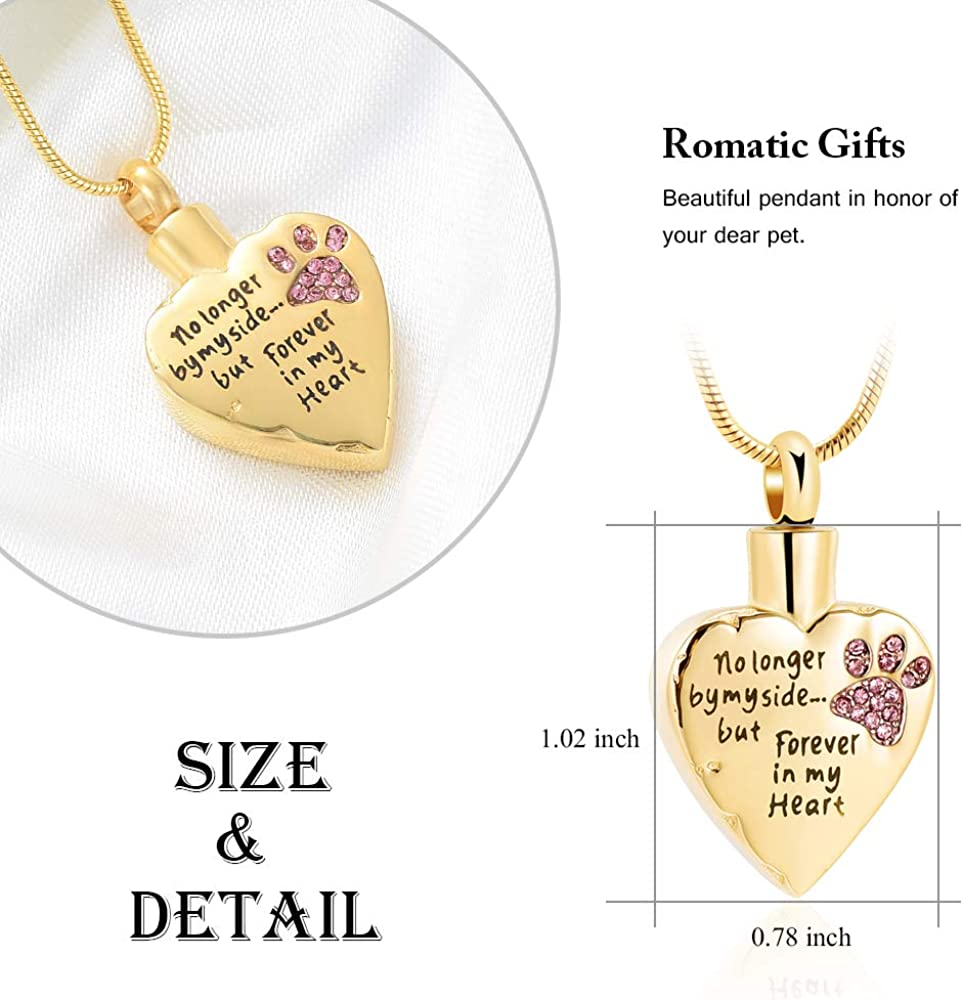 memorial jewelry No Longer by My Side,But Forever in My Heart Carved Locket Cremation Urn Necklace for Pet Dog Cats