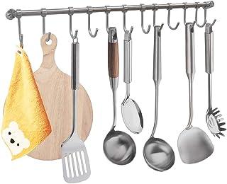 Colgador de Toallas Multifuncional Bastidores Colgantes para Accesorios de Cocina y Baño Acero Inoxidable de 55 cm con 12 Ganchos