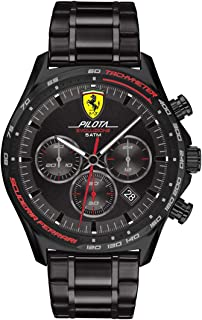 Scuderia Ferrari Pilota Evo Men's Quartz Chrono Stainless Steel and Bracelet Casual Watch, Color: Black (Model: 0830716)
