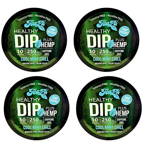TeaZa Herbal Energy Alternative with Hemp | Quit Chewing and Dipping Snuff | Nicotine and Caffeine Free Herbal Energy Pouch (Cool Mint Chill, 4 Pack)