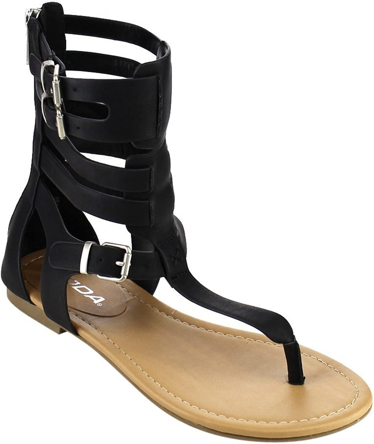 Soda Ronald Women's T-Strap Caged Buckled Flat Thong Sandals One Size Bigger