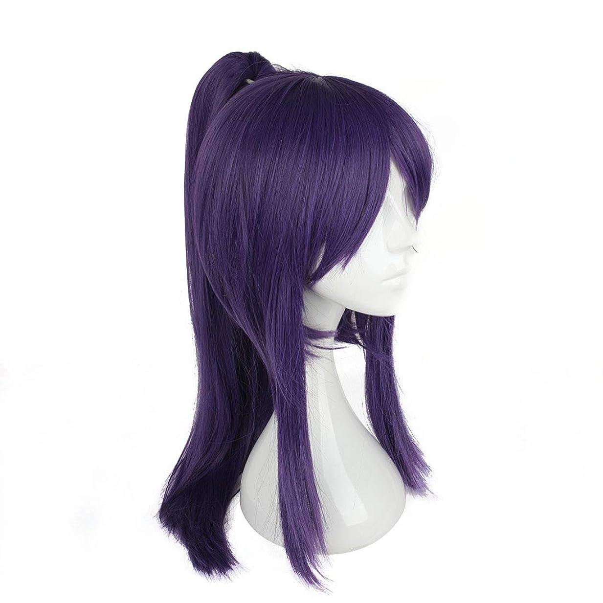うんざりサンダル舌Koloeplf コスプレウィッグ日本サムライ服ウィッグコスプレウィッグパープルバンズロングヘア (Color : Purple)