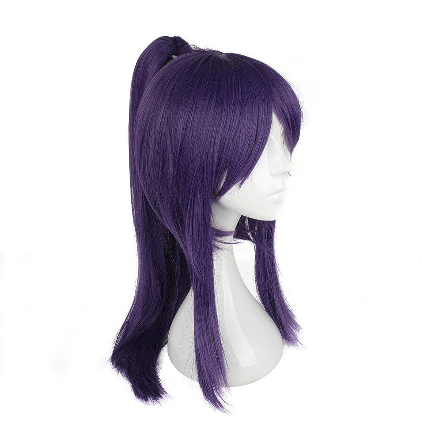 スチール発音する干渉BOBIDYEE 日本の侍服かつらコスプレウィッグ紫髪前髪長い髪用相馬神崎コンポジットヘアレースかつらロールプレイングかつら (色 : 紫の)