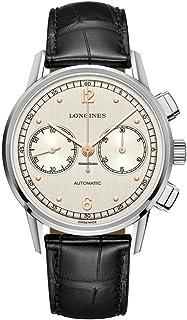 Longines - L2.814.4.76.0 - Reloj (Reloj de pulsera, Masculino, Acero inoxidable, Acero inoxidable, Cuero, Negro)