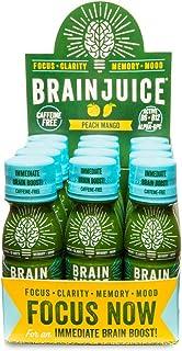 BrainJuice Brain Booster Shot, Decaffeinated Free Peach Mango | Liquid Drink Supplement for Improved Memory, Focus, Clarit...