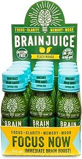 BrainJuice Brain Booster Shot, Caffeine Free Peach Mango | Liquid Drink Supplement for Improved Memory, Focus, Clarity & Mood, Gluten-Free, Non-GMO | 2.5 fl oz, 12 Count