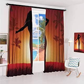 GUUVOR Girls Sunshade Sunscreen Curtain Silhouette of Female Human Body in The Sunshine of Exotic Lands Image Print Soundproof Shade W42 x L84 Inch Burnt Orange Black