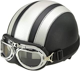 EDTara Motorcycle Helmet Unisex Men Women Open Face Half Visor Protection Goggles Safety Helmet Silver