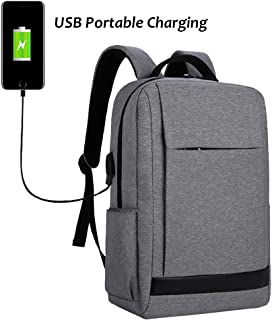 JIAN YA NA Laptop Backpack Business Bags with USB Charging Port Water Resistant Oxford School Bookbag for College Casual Travel Backpack Fits Up to 15.6-Inch Laptop and Notebook (Grey)
