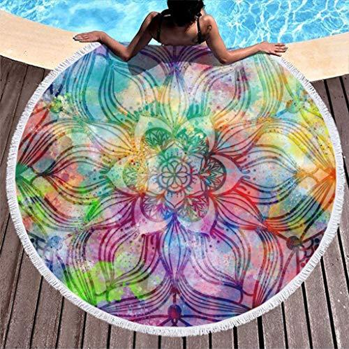 Go Go Grifendoor Toalla de playa de gran tamaño (redonda, 150 cm), color blanco